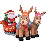 Santa Claus Inflable Navideño De 7 Pies En Trineo con Dos Renos, Papá Noel Inflable De Navidad con Luz LED Hinchables De Césped para Decoración De Césped De Jardín Interior Al Aire Libre