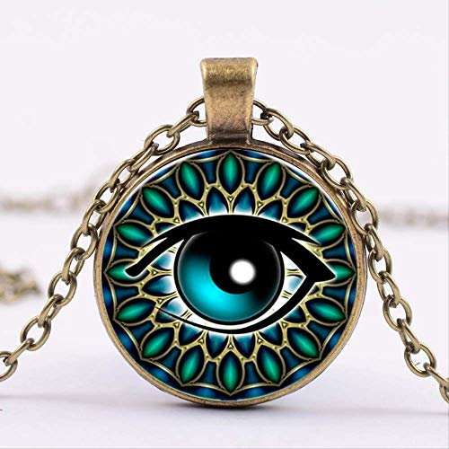 Naswi Egyptian Gods Power Eye Necklace Eye of Horus Amulet Symbol Pendant Women Men Glass Necklace Mandala Vintage Photo Choker