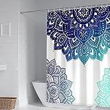 Socoz Duschvorhänge Vintage 90X180cm,Duschvorhang Antischimmel Mandala Muster Blau Cyan Duschvorhänge