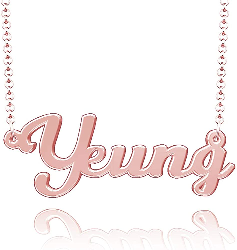LoEnMe Jewelry Yeung Name Necklace Stainless Steel Plated Custom Made of Last Name Personalized Gift for Family