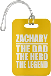 Zachary The Dad The Hero The Legend - Luggage Tag Bag-gage Suitcase Tag Durable - Father Dad from Daughter Son Kid Wife Athletic Gold Birthday Anniversary Christmas Thanksgiving