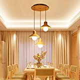 WLP-WF Abat-Jour En Bois Suspension Restaurant Lumière Décorative Salon Suspension Luminaire Chambre Bureau Plafonniers Table de Cuisine Lampes Suspendues Lustres Intérieurs Prise 3Xe27 Éclairage Sus