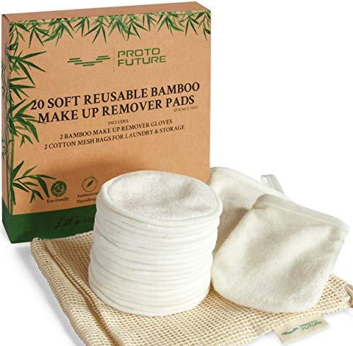 20 Discos Desmaquillantes Reutilizables de Bambú Orgánico – 2 Bolsas de Algodón y 2 Guantes de Bambú , Almohadillas Desmaquillantes Ecológicas, Proto Future