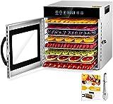 Acciaio Inossidabile Essiccatori per Alimenti, 8 scomparti Con Display LCD, 24 ore Timer, 30-90°C Temperatura Regolabile,500W Essiccatore di Frutta e Verdura (8 Scomparti)