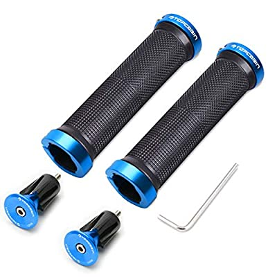 TOPCABIN Bicycle Grips,Double Lock on Locking Bicycle Handlebar Grips Rubber Comfortable Bike Grips for Bicycle Mountain BMX (Navy)