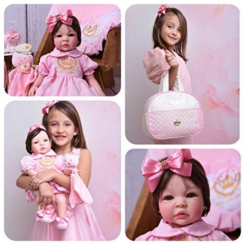 Bebe Reborn Menina Silicone Promoçao Princesa Boneca Fada Madrinha Reborn Poa Rosa BK + Enxoval