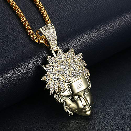 DFES Colgante de Hombres Hip Hop Hop Hop High Chapated Cadena Bling CZ Simulated Diamond Hip Hop Necklace para Hombres Mujeres,E