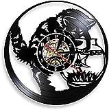 Reloj de Pared de Vinilo Reloj de Pesca de Gato Reloj de decoración de Acuario de Pesca de Gato Reloj decoración de Pared de guardería