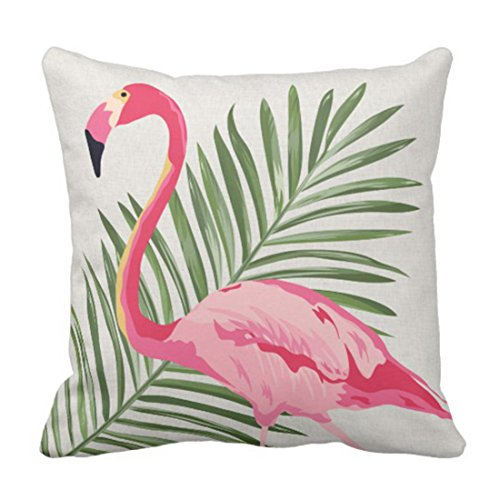 Throw Pillow Cover Summer Tropical Pink Flamingo and Palm Linen Decorative Pillow Case Home Decor Square 18'' X 18'' Pillowcase