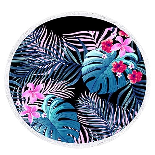 unknows Toalla de playa redonda con diseño de hojas de palma, manta bohemia para playa, toalla de baño grande, mantel, esterilla de yoga para meditación, picnic, decoración del hogar de 59 pulgadas