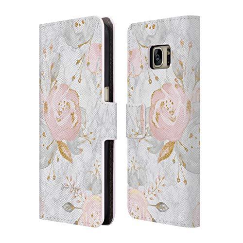 Head Case Designs Oficial Nature Magick Rosas de Oro Rosa Flores de Purpurina Rosa en mármol Carcasa de Cuero Tipo Libro Compatible con Samsung Galaxy S7
