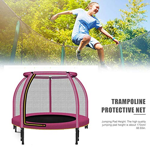 WXJHA 48' Trampoline with Safety Enclosure,Coil Spring Safety Padded Thick protective closed net - Toddler Mini Trampoline for Kids Safety Jump Sports toys,Pink
