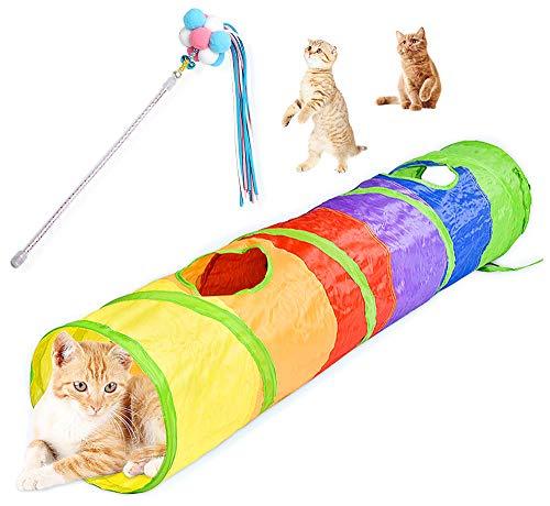 N/A Ldawy Katzenspielzeug Interaktives Katzenspielzeug-Set mit Haarball Lustiger Katzenstab Regenbogen-Katzentunnel für Hauskatzen