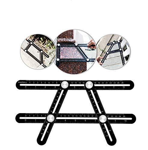 Multi Winkel Messen Lineal Vorlage Werkzeug Schwarz Aluminium Lineal, for Bastler, Bauherren, Handwerker, Heimwerker, Schwarz