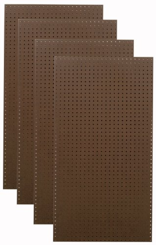 Tempered Wood Pegboard TPB-4BR 24-Inch W x 48-Inch H x 1/4-Inch D Heavy Duty Commercial Grade Round Hole Pegboards, Brown
