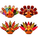 Package including: 4 pieces Thanksgiving pumpkin turkey making kit, four different styles, each turkey includes 7 or 9 tail feathers, 2 wings and 1 turkey head, each pack comes with a strong foam double-sided adhesive tape and DIY steps Size and mate...