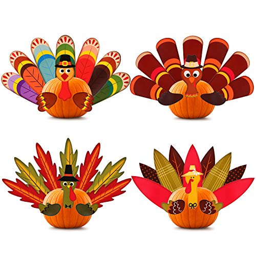 4 Pieces Thanksgiving Pumpkin Turkey Making Kit, Thanksgiving Turkey Craft for Kids, Turkeys Fall Decor for Give and Thanks Fall Turkey Craft Thanksgiving Party Games Accessories