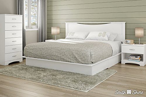 South Shore Step One Full/Queen Platform Bed (54/60'') with drawers, Soft Gray