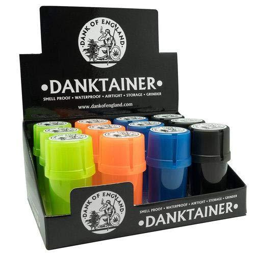 Dank Of England - Grinder per medtainer | Top in plastica e smerigliatrice in plastica con contenitore di stoccaggio | Danktainer