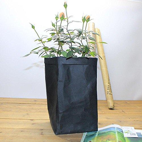 IGEMY Sac en papier kraft lavable pour pots de fleurs multifonction pour la maison - Sac de rangement réutilisable - Pour décoration d'intérieur (noir)