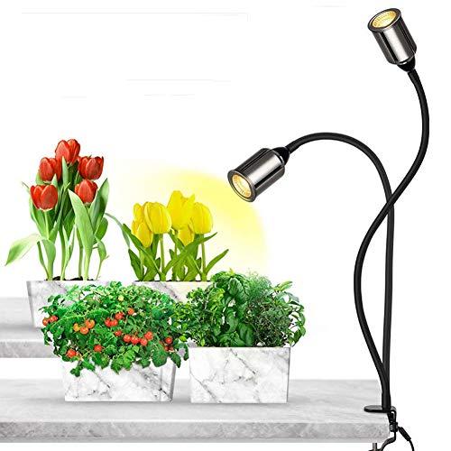 YS&VV LED Dual Head Pflanzenlicht, 14W Strahler Pflanzenlampe, zeitliche Koordinierung, Fünf Dimmstufen Doppelschalter, wasserdicht, Das Ganze Spektrum, Geeignet Für Jede Vegetationsperiode