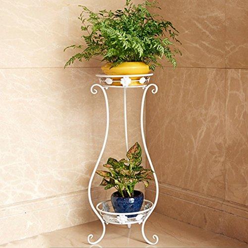ZHANWEI Etagère à fleurs Porte Pots pour Fleurs et Plantes Art de fer 2 étages Multifonctionnel Au sol Style européen Assemblée Intérieur / extérieur, 3 couleurs, 33 * 28 * 80 cm / 30 * 24,5 * cm ( Couleur : Blanc , taille : L )