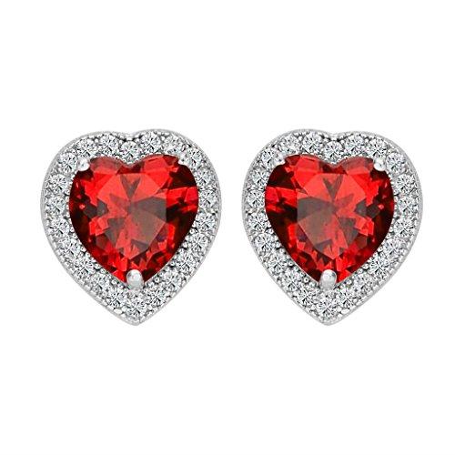 BriLove 925 Sterling Silver CZ Heart Stud Earrings for Women Wedding Bride Love Halo Austrian Crystal Earrings Light Siam Color July Birthstone (Crystal Heart Post Earrings)