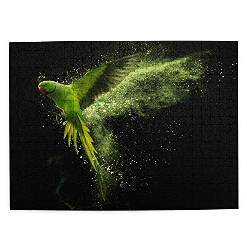 Popsastaresa Jigsaw Puzzles 500 Pieces,Flying Green Parrot Alexandrine Parakeet With Colored Powder Clouds Isolated On Black Background,Large Family Puzzle Game Artwork for Adults Teens
