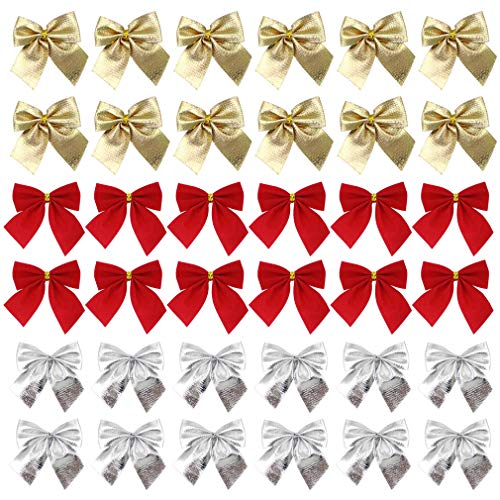 VIIRY 36 Pack Golden Silver Red Christmas Bow Christmas Tree Hanging Decoration Wreath Gifts Wedding Party Bowknot Decoration Accessories