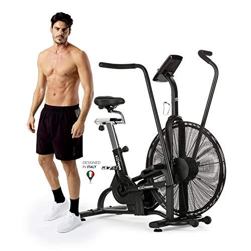 Air Bike YM EXTREME, Airbike Cyclette Spinning Professionale Crosstrainer Ergometro, Mod. 2021, Telaio e Componenti Rinforzati, Computer Integrato con Display LCD, Catena, Compatibile con Fasce Cardio