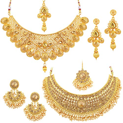 Sukkhi Glamorous LCT Gold Plated Wedding Jewellery Pearl Choker Necklace Set Combo...