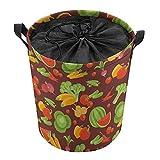 Cesta de almacenamiento redonda con revestimiento organizador para ropa de guardería, juguetes de diferentes frutas y verduras