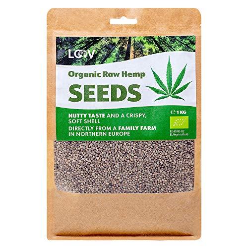 LOOV Semi integrali di canapa biologica, 1 kg, non trattati termicamente, tutti i nutrienti preservati, delizioso sapore di nocciola, coltivazione in clima nordico, fonte di proteine vegetali e fibre