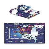 Noche Azul De Navidad Juego de Toallas para Baño Playa 100% Algodón de Piscina Toalla (1 Toalla de Baño y 1 Toalla de Mano y 1 Paño de Lavado) para Nadar Hotel Niñas Niños Niños