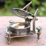 Humaira Nautical Vintage Antique Style Brass Sundial Compass Maritime Nautical Compass Desk Decor