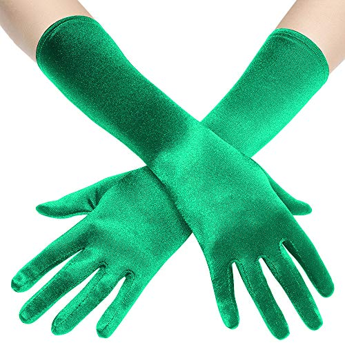 BABEYOND Long Opera Party 20s Satin Gloves Stretchy Adult Size Elbow Length 15 Inches (Green)
