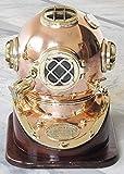 NauticalMart Solid Shiny Brass & Copper Divers Diving Helmet US Navy Mark V Helmet