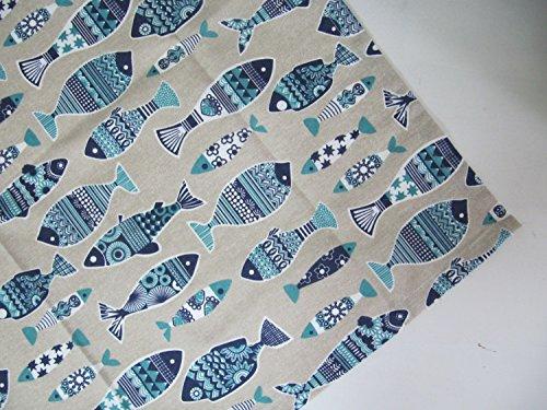 Fisch Blau Natur Textilserie Küchenserie Tischdecke Latzschürze Ofenhandschuhe Topflappen, Variante:Decke 85x85