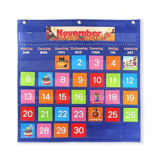VNOM Blue Calendar Pocket Chart for Classroom,School Pocket Calendar for Kids Learning for Home,Pre-k Homeschool Daycare Classroom Supplies for Teachers
