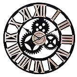 Infinity Time & Co Silent 24Inch Metal Gear Wall Clock - Large 3D Retro Rustic Decorative Luxury Art Big Natural Wooden Steampunk Industrial Decor Clock(Roman Numeral,Matt Black)