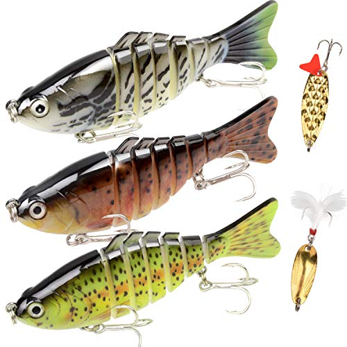 Fishing Lures Bass Lures Set,Fishing Lures for Bass Multi Jointed Swim baits Slow Sinking Hard Lure Fishing Tackle Kits Lifelike (3.9)