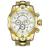 Liandd - Reloj de pulsera para hombre, cuarzo, acero inoxidable, multifunción, para hombre, reloj deportivo grande, J