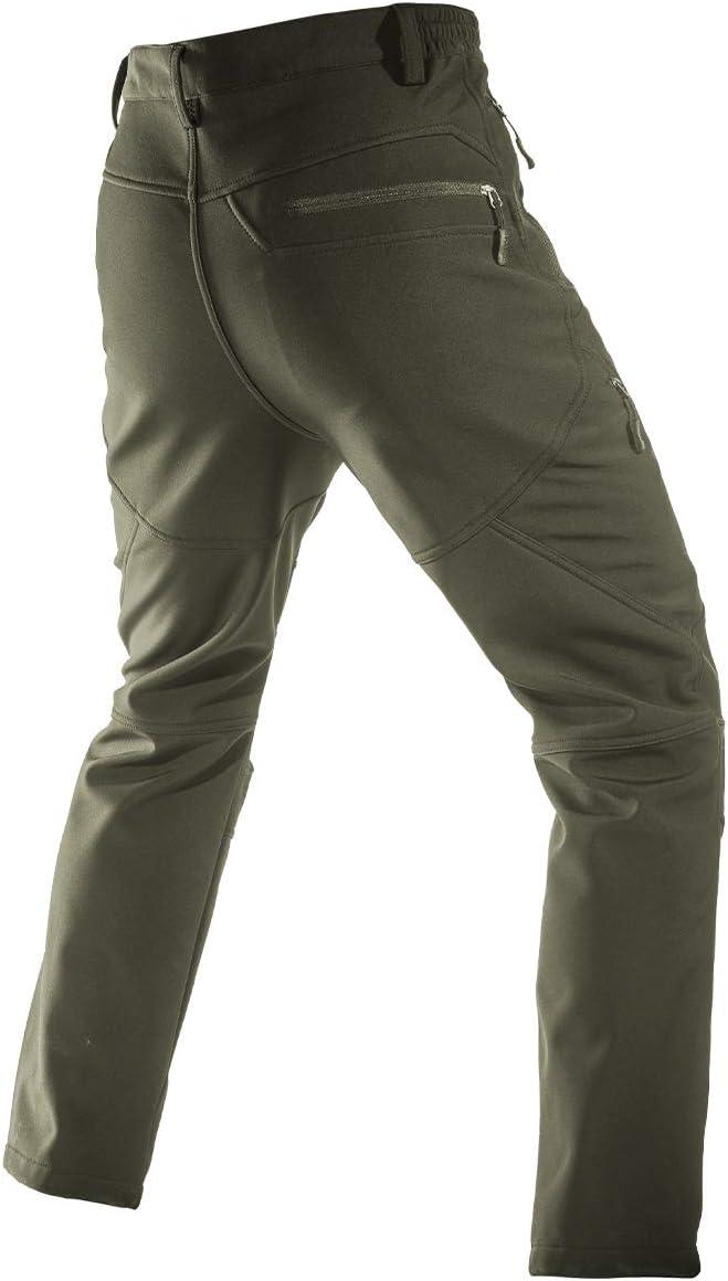 Pesca FREE SOLDIER Pantaloni Impermeabile Uomo Softshell Pantaloni da Lavoro Pantaloni Sci Invernali Foderati in Pile Termico per Escursionismo Camminata
