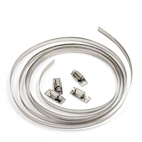 ZADAWERK® Schlauchschelle - einstellbar - 3 m Band, 4 Verbindungselemente - Set