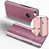 EMAXELERS Funda Huawei P8 Lite 2017 Espejo Caja de Maquillaje con Marco de Cuero de la PU Flip Protectora de Cuerpo Completo para Huawei P8 Lite 2017 Mirror PU : Rose Gold