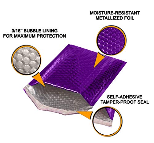ABC 10 Pack Metallic Bubble mailers 6.5 x 10.5 DVD size. Purple padded envelopes 6 1/2 x 10 1/2. Glamour bubble mailers Peel and Seal. Padded mailing envelopes for shipping, packing, packaging Photo #6