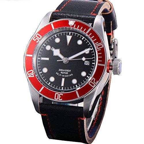 41mm Vetro Zaffiro nero quadrante data meccanico automatico orologio da...