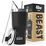 Greens Steel Beast 40oz Black Tumbler - Stainless Steel Insulated Coffee Cup with Lid, 2 Straws, Brush & Gift Box