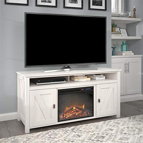 "Ameriwood Home Farmington Electric Fireplace Console 60"", Ivory Pine TV Stand"