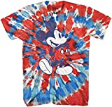 Mickey Mouse Classic Shmile Tie Dye Vintage Disneyland World Mens Adult Graphic Tee T-Shirt Apparel (Red Blue Tie Dye, Small)